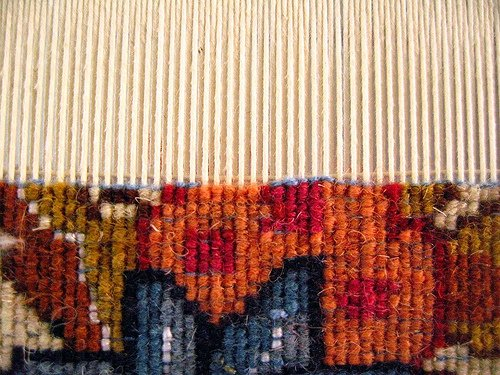 Woven carpet uses a technique similar to that of woven textiles.
