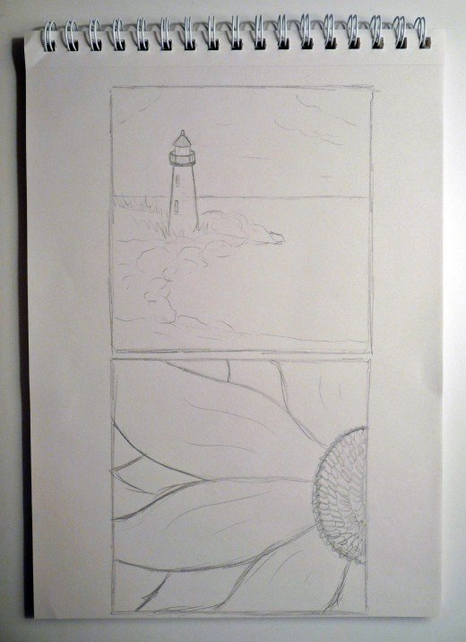 If you're not sure what to paint, try some pencil sketches on a pad to help plan out your painting and layout.