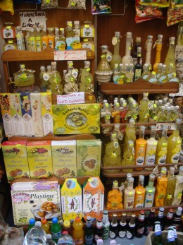 Limoncello products are sold all over the Amalfi Coast