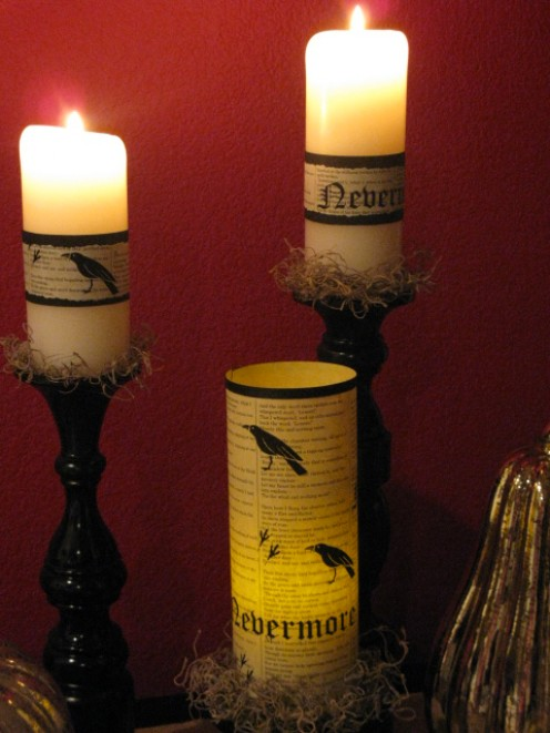 Spanish moss is the perfect compliment to these Raven inspired candles.