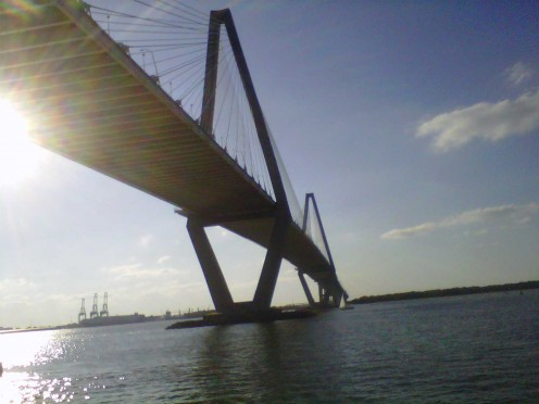 Looking at the Arthur Ravenel Jr. Bridge from the pier at Mount Pleasant Waterfront Park