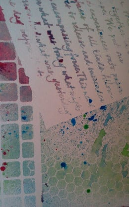 First steps in creating the background - stencils and diluted acrylic inks.