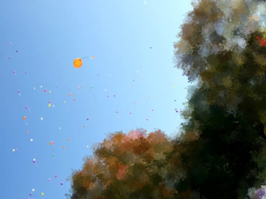 In 2010, a balloon was sent up in memory of everyone who had been lost to suicide!  You are the bright yellow balloon!