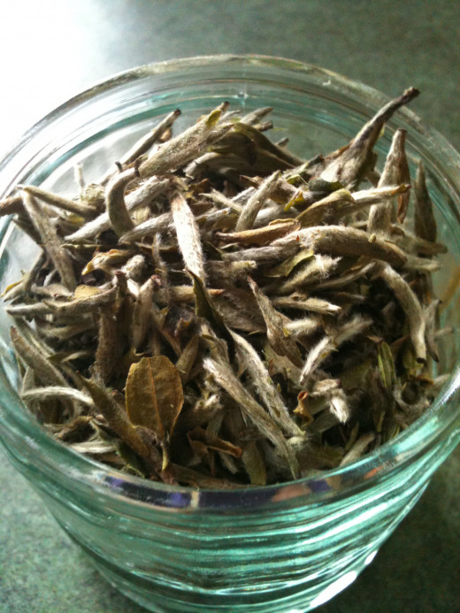 Amazing Green Tea's Silver Needle Loose-Leaf Tea.  Photo © Redberry Sky 2012.