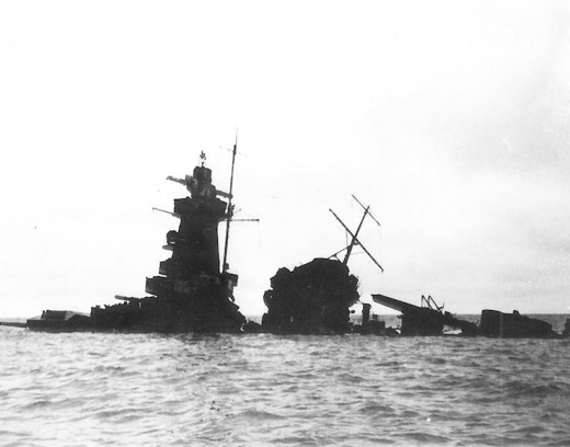 The upper structure of the Graf Spee, showing above the water in 1940