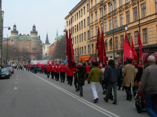 A May Day demonstration in Sweden.  The Nordic model of government general combines free market capitalism with a strong welfare state.  The system also promotes gender equality, income redistribution, and a liberal fiscal policy.