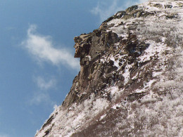 The Old Man of the Mountains collapsed in May 2003, leaving behind just a barren cliff.