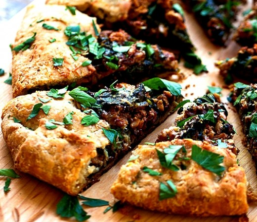 Galette filled with Spinach, Cheese and Fresh Herbs