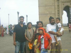 """The author with his family in front of the """"Gateway of India"""" Monument, Mumbai."""