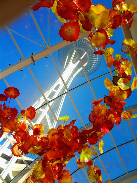 Suspended Glass Sculpture by Dale Chihuly with Space Needle