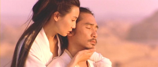 A captured still image from the movie, Hero, starring Jet Li.