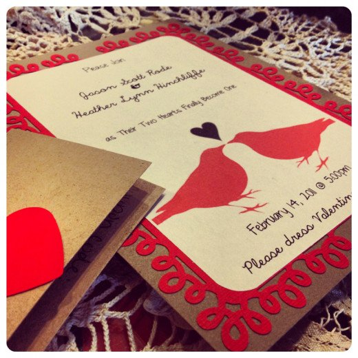 Homemade wedding invitations made with Love