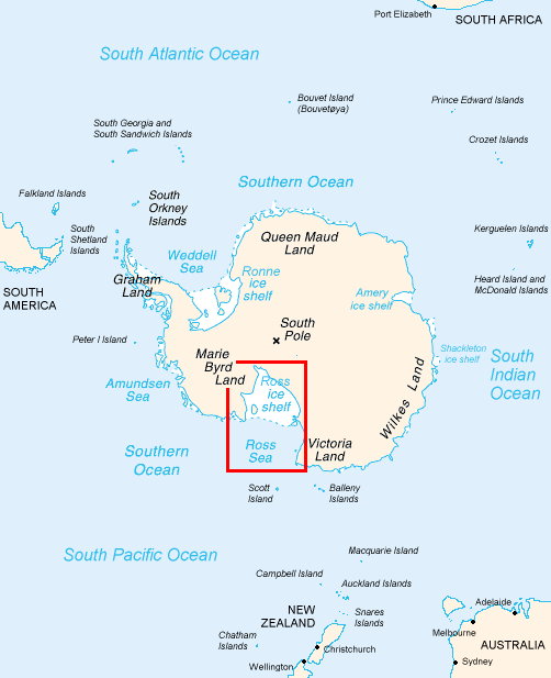 The location of the Ross Sea, Southern Ocean, Antarctica