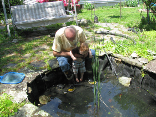 Cleaning out the pond with our youngest grandson