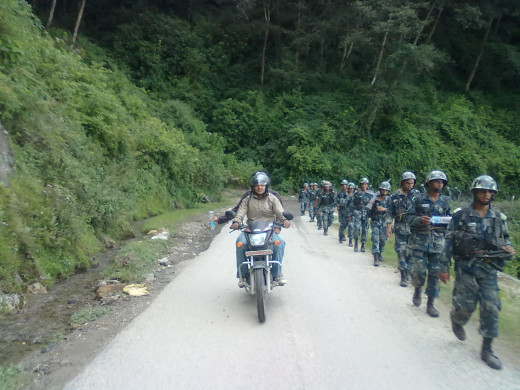 A Group of Police Marching on the way to Kakani.(Nepal)