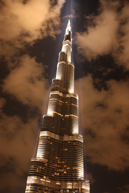 The Burj Khalifa at Night.