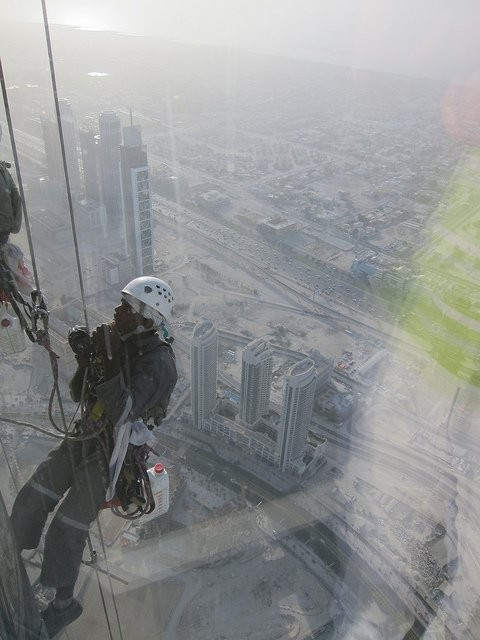 A window cleaner on the side of the Burj Khalifa, Dubai