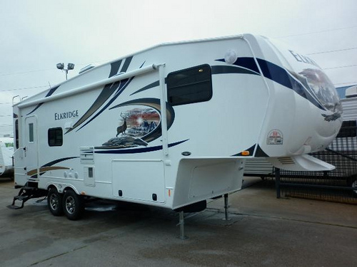 This is a typical design of fifth-wheel camper that you will find in almost all campgrounds around the country.