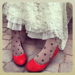 Tights with hearts and red glitter heels