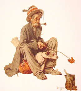 Norman Rockwell 1924 Hobo and Hot Dog