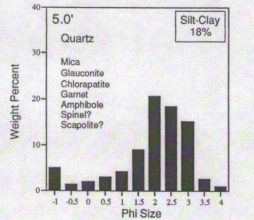 Figure 3. Summary results of sedimentological and heavy mineral analyses collected at 5' above stream level, Facies B (Bennington, 2000).