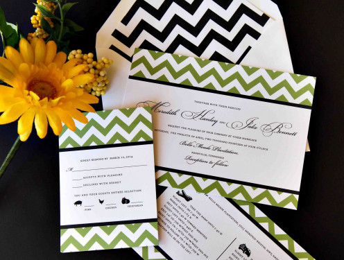 Most formal invitations include a response card inside a self-addressed pre-stamped envelope.