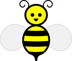 a picture of a cartoon style bee for a child to use in craft work.