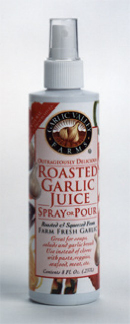 Garlic Valley Farms is available in fresh garlic and roasted garlic flavors. It's in a spray bottle, this stuff is AWESOME.