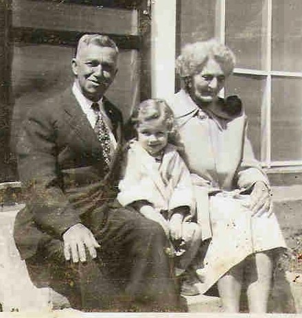 Granddaddy & Grannie Mooney with me in the middle on one our family visits to Oklahoma around 1954-55.