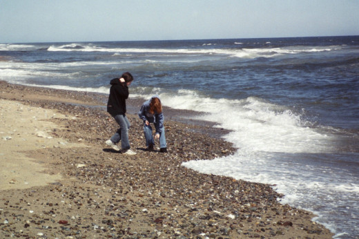 The beach in the Springtime creates  a family bonding experience. Here my daughters are collecting rocks and shells.