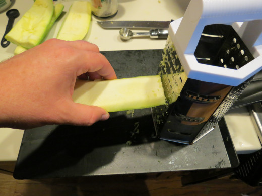 Grate one piece of zucchini as small as possible. You will need at least a half cup, I used a half cup.  Adding more zucchini will change the flavor of the cheese filling, it will give it a slightly sour and bitter flavor.