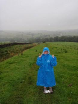 Jennifer Teacher walking Hadrian's Wall in the rain.