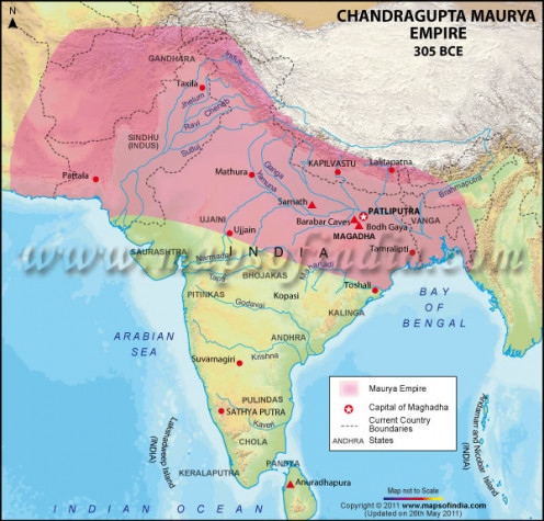 extent of Mauryan  empire