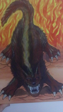 A Hellhound acrylic painting by Artist Wayne Tully.