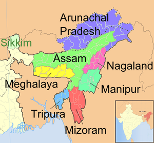 The Seven Sister States (include all states in the map except Sikkim)