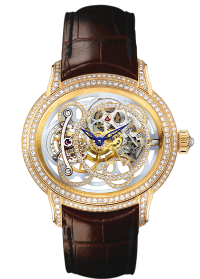 A Millenary tourbillon skeleton model, which is designed to throw every inner detail of the watch and the meticulous labor put into every one of it  into sharp relief.