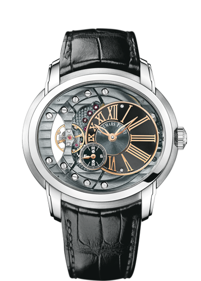 A Millenary selfwinding watch, its balance wheel clearly visible from the dial.