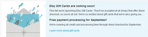 Etsy announcement of accepting gift cards soon and no credit card processing fees for the month of September 2012!