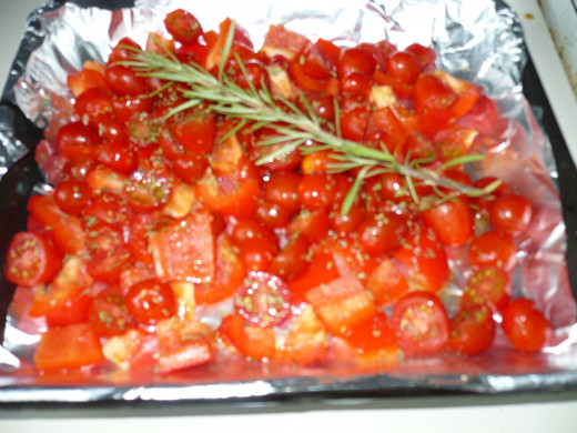 peppers and grape tomatoes roasted in oven