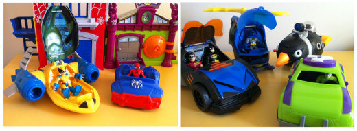 Playskool and Imaginext vehicles for side by side comparison