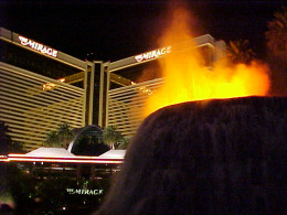 The Mirage seen from the behind the volcano on the Las Vegas Strip.