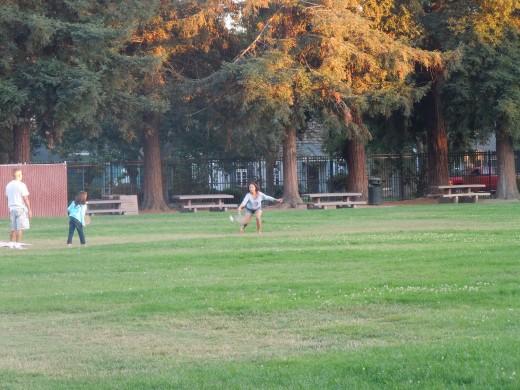 People Playing badminton at Municipal Rose Garden in San Jose CA