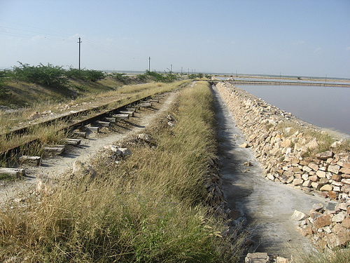 Railway track in Sambhar salt fields