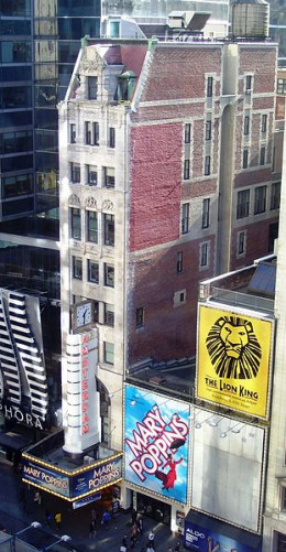 This photograph of the New Amsterdam Theatre was taken by Beyind My Ken on November 11, 2011 from the 9th floor of the New 42nd Street Building.The theater was built in 1902 to 1903.