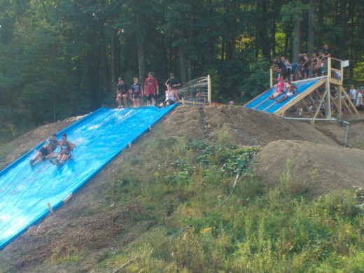 Giant Slip and Slide into Pool of Mud at Run for Your Lives Pittsburgh