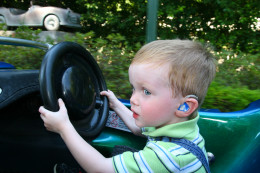 Very young children can drive the Autopia cars if the adult manages the gas pedal (kids under 7 must ride with an adult).