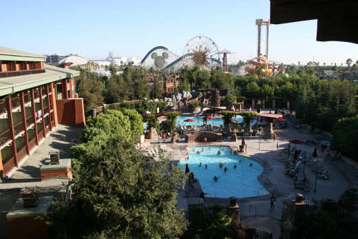 The Grand Californian Hotel overlooks Disney California Adventure and offers a private entrance. This is the most luxurious Disneyland resort hotel.