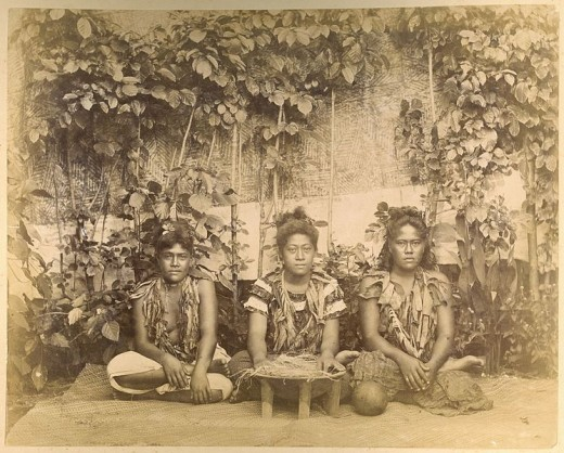 Three Samoan women prepare to make Kava.