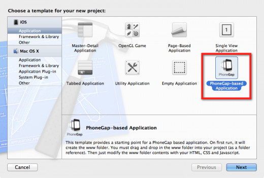 The PhoneGap template in Xcode
