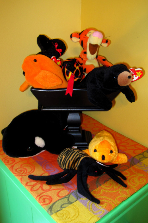 Orange and Black Beanie Babies and other Stuffed Toys:)